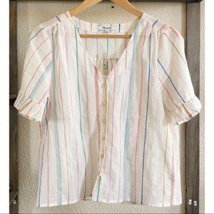 Madewell Tops - Madewell rainbow ruffle sleeve top